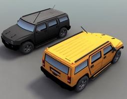 3D asset H2 Hummer SUV