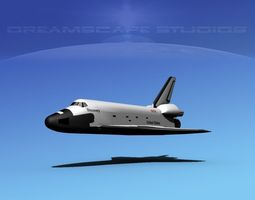 sts shuttle discovery basic lp 1-1 rigged 3d model