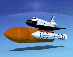 rigged sts shuttle discovery launch mp 2-1  3d model
