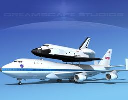 sts shuttle discovery transport mp 2-2 747  3d model rigged