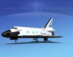 space shuttle endeavour landing lp  1-3 rigged 3d