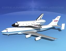space shuttle enterprise transport lp 1-2 747  rigged 3d