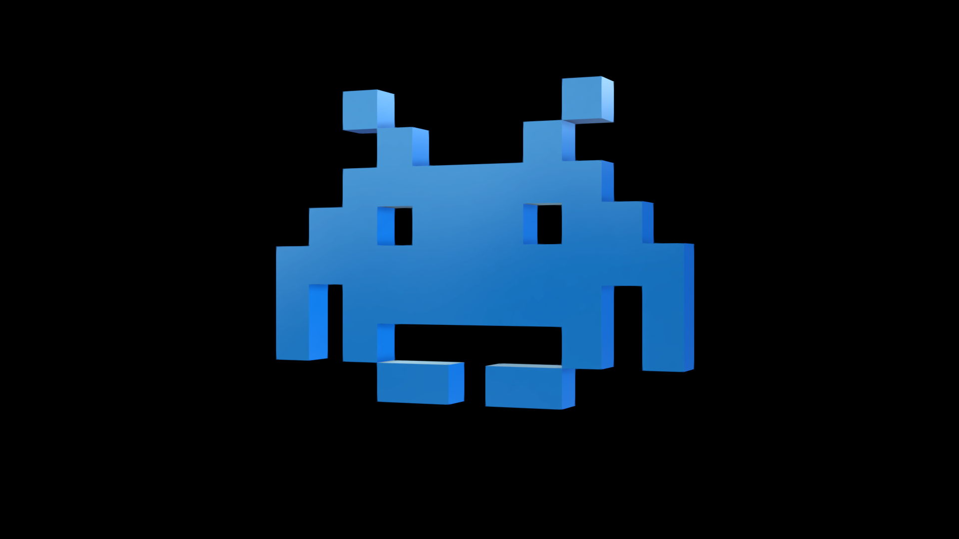 3d model classic space invader vr ar low poly obj 3ds for Space invaders