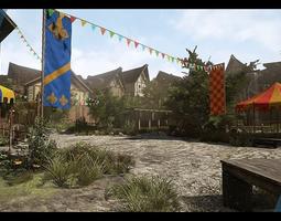 3d asset VR / AR ready medieval village