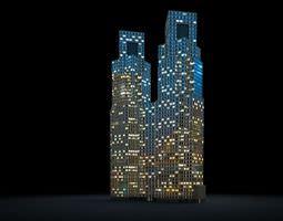 3D model Lightening City Skyscrapers