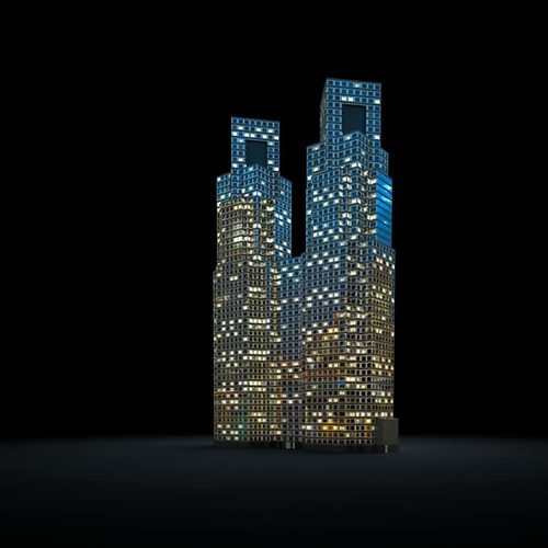 lightening city skyscrapers 3d model obj 1