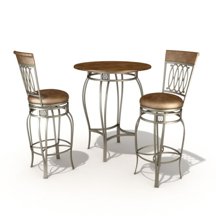 Bar Set Table And Chairs 3d Model