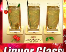Photorealistic Detailed Cocktail - Disaronno. 3D Model