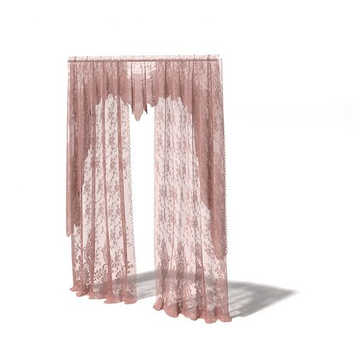 Pink Long Curtains Model 1