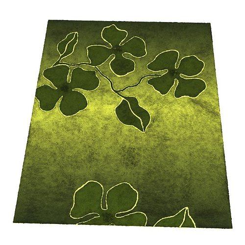 green flower patterned carpet 3d model obj mtl 1