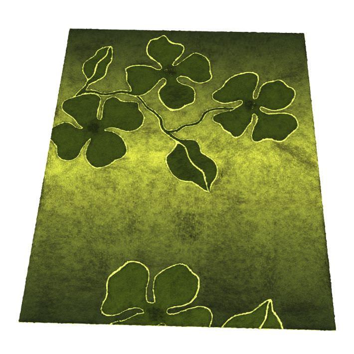 Green Flower Patterned Carpet 3D Model