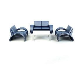 3D model Modern Blue Sofas Set