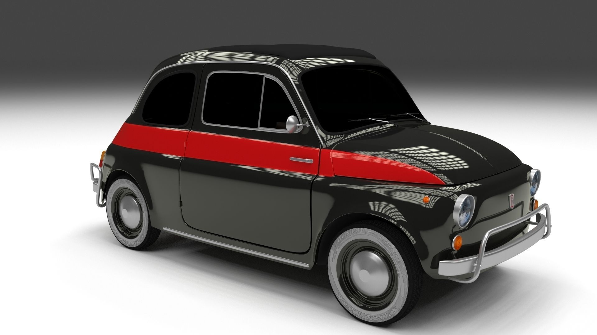 fiat 500 nuova sport 1958 hdri 3d model obj fbx stl blend. Black Bedroom Furniture Sets. Home Design Ideas