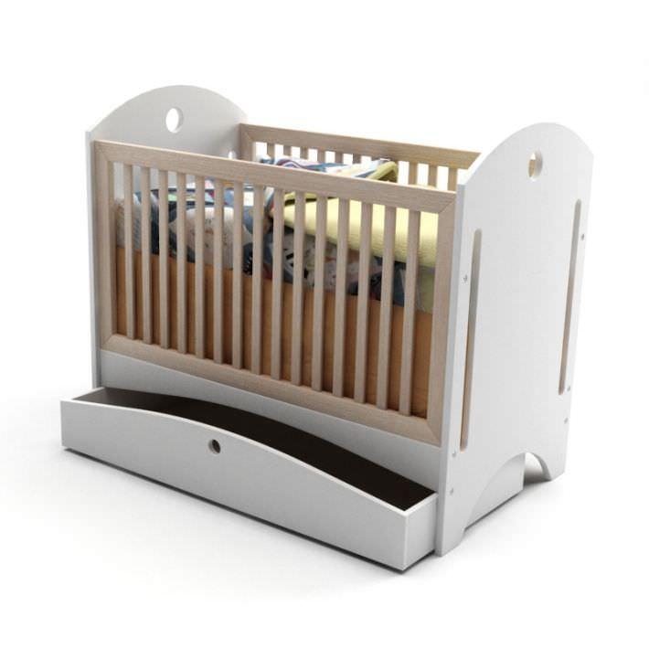 white wooden crib 3d model obj 1 - White Wooden Crib 3D Model OBJ