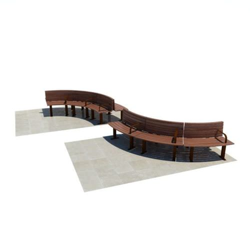 Curved Wooden Benches 3d Model