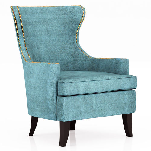 Ordinaire Pacific Blue Elliott Wingback Chair 3D Model