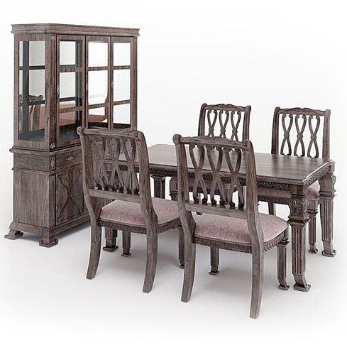 dark wood dining room set 3d model