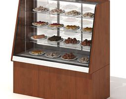3d model wood toned bakery display case