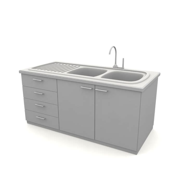 Kitchen Sink Model: Simple Kitchen Sink With Cabinets 3D Model