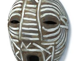 african brown and white mask 3d