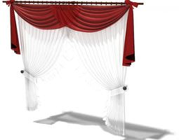 Red And White Large Window Curtains 3D