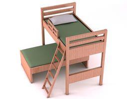3d model wooden bunk bed