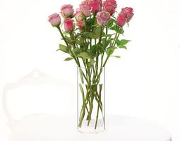 3D model Vase With Pink Roses
