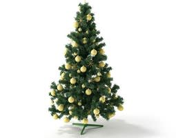 3d christmas tree with golden toys