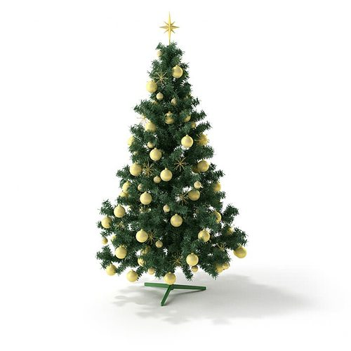 Model Of Christmas Tree: 3D Model Christmas Tree With Golden Toys