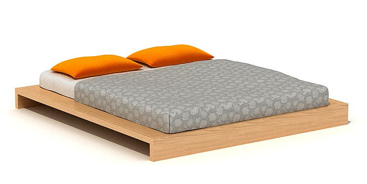 Double Bed With Wooden Base 3d Model