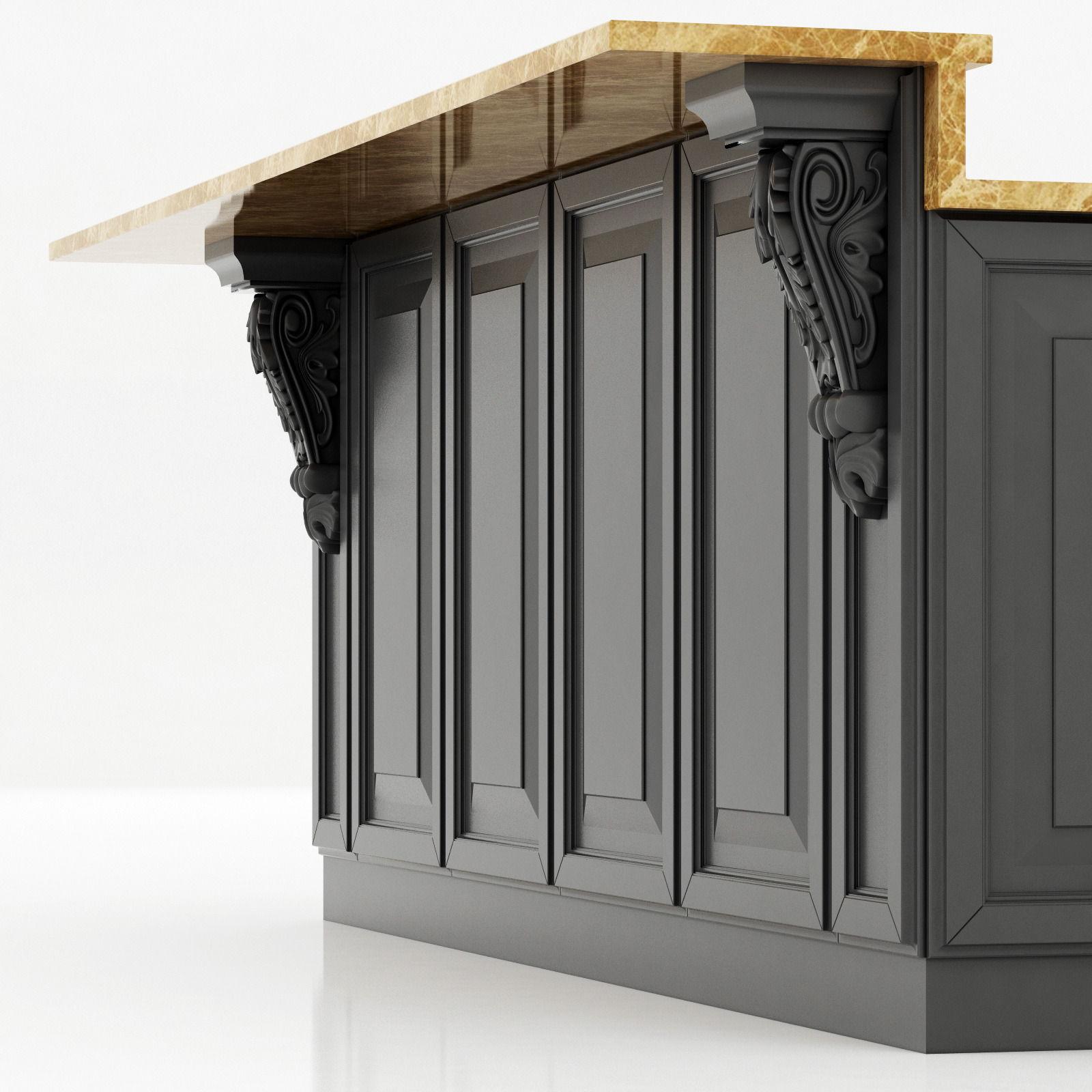Kitchen island lyn design -  Kitchen Island Cabinet 2 3d Model Max Obj Fbx Mtl 3
