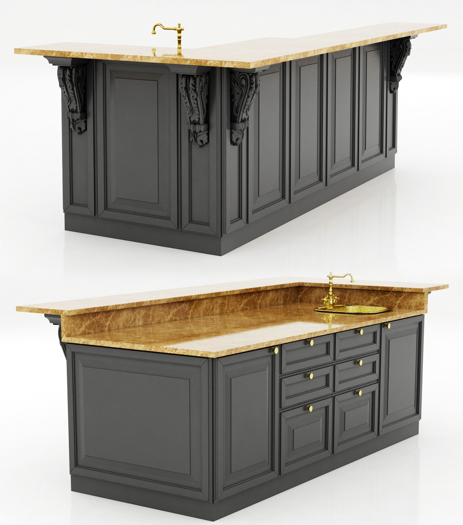 Colonial Kitchen Island 3d Model Cgtrader Throughout Kitchen Island 3d Model Design Design Ideas