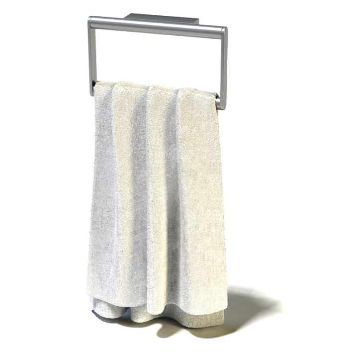 ... white towel hanging on a rack 3d model highly detailed model of towel