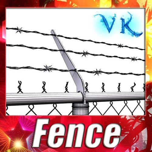Chainlink fence Barbed wire High detail3D model
