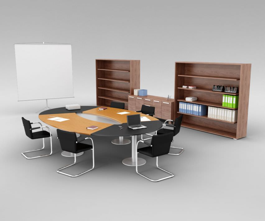 office conference room furniture 3d model