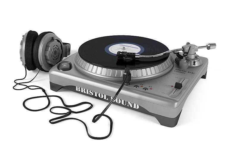 Silver And Black Turntable With Headphones