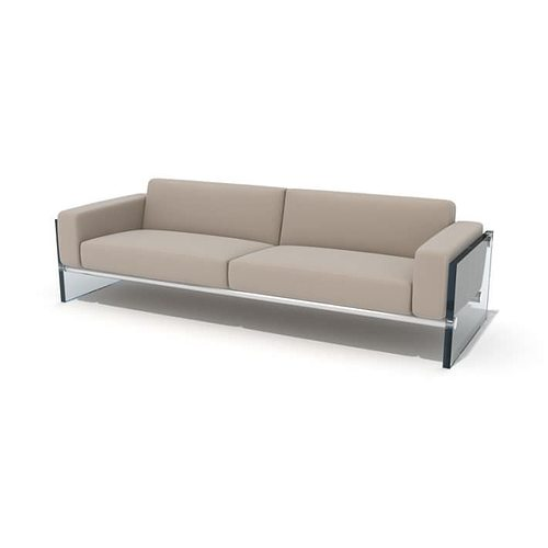 3d Model Modern Glass Sided Couch Cgtrader