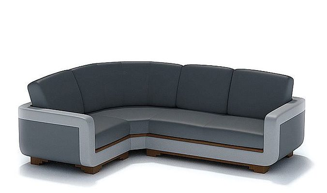 Modern L Shaped Black Leather Couch 3D Model