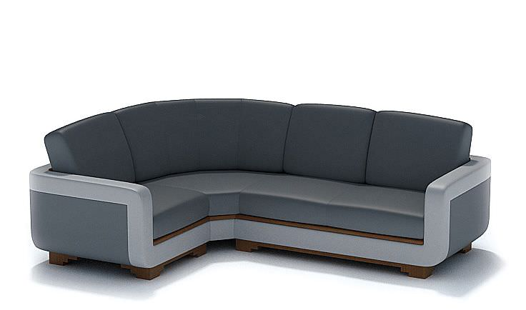Modern l shaped black leather couch 3d model for Sofas con shenlong