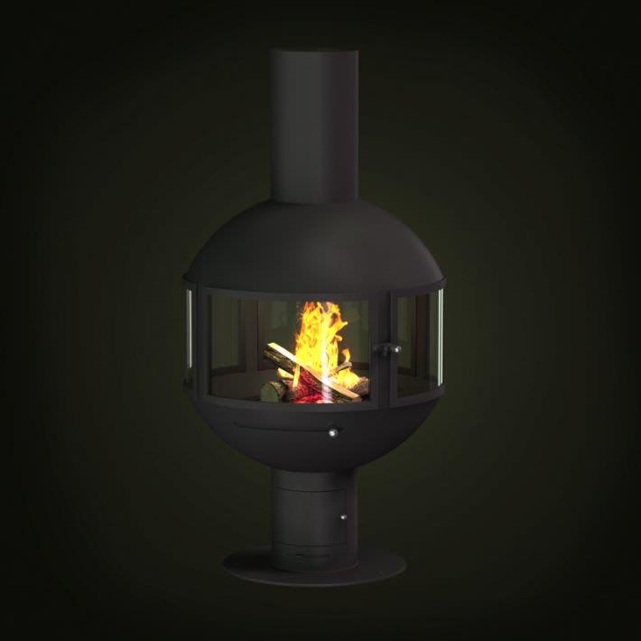 Round Metal Fireplace 3D model OBJ