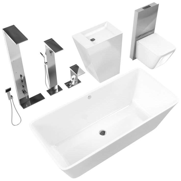 Wonderful Dark Bathroom Fixtures 3D Model OBJ  CGTradercom