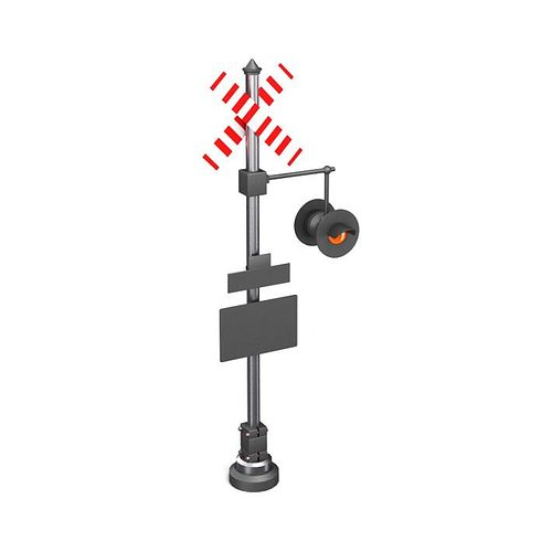 sign  railroad caution sign and light 3d model obj mtl 1