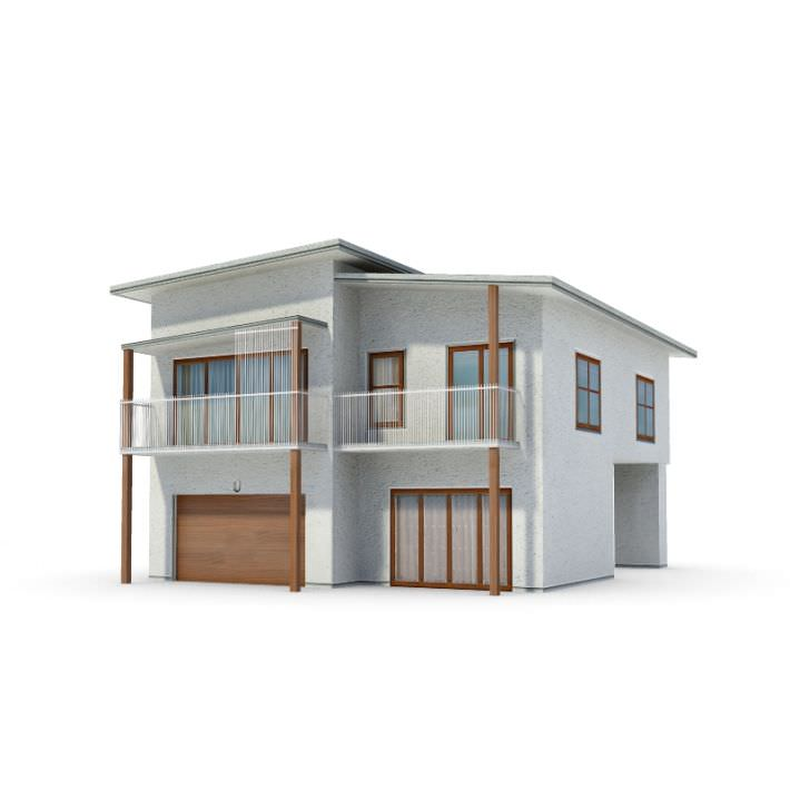 White modern house 3d model for Exterior 3d model