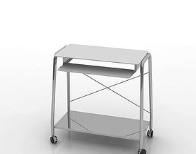 Modern Brushed Metal Cart With Wheels 3D