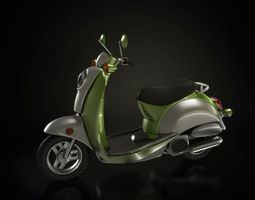 Sleek Green And Silver Motorbike 3D Model