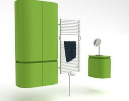Green Bathroom Furniture Set 3D