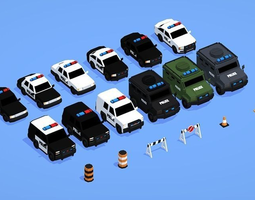 Low Poly Police Car Pack 3D Model