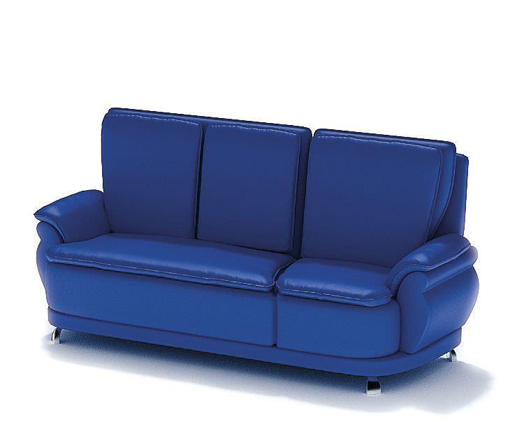 Blue leather sofa 3d model Blue leather sofa