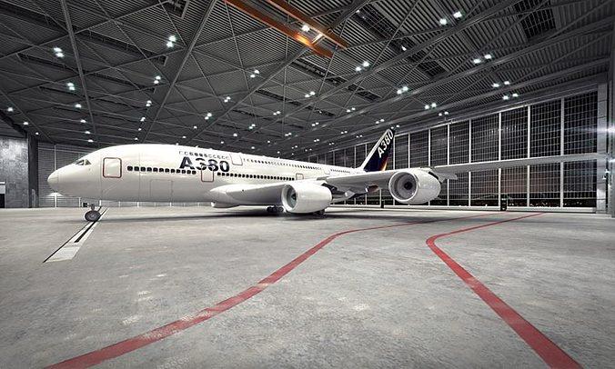 white passanger plane 3d model obj 1