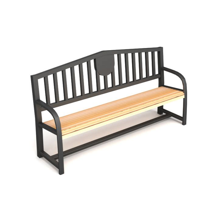 Black Wooden Bench 3d Model
